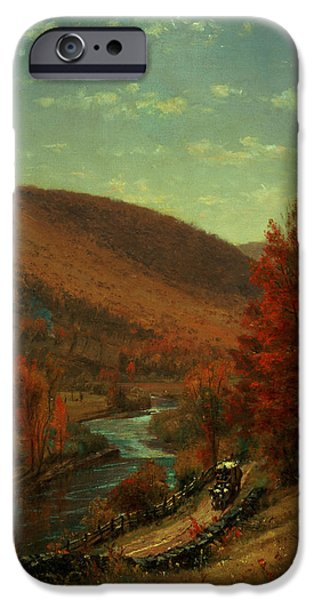 Turning Leaves iPhone Cases - Road Through Belvedere iPhone Case by Thomas Worthington