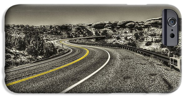 Asphalt iPhone Cases - Road through Canyonlands National Park iPhone Case by Roger Passman