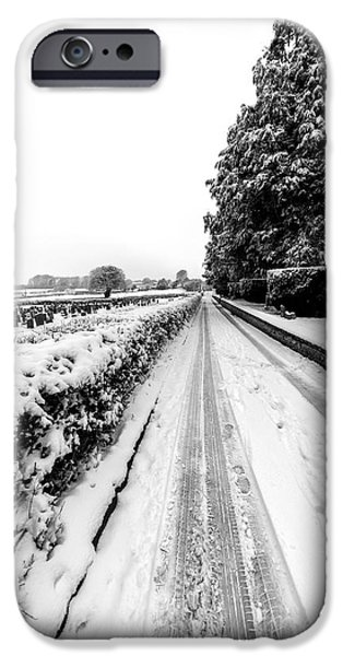 Snowy Digital iPhone Cases - Road To Winter iPhone Case by Adrian Evans