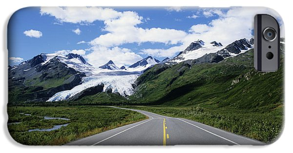 Asphalt iPhone Cases - Road to Worthington Glacier iPhone Case by Bill Bachmann - Printscapes