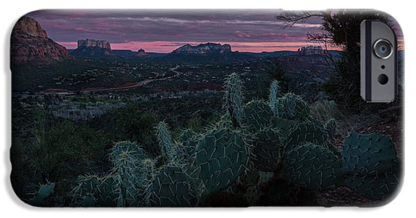 Sedona Pyrography iPhone Cases - Roadway through Rock Buttes iPhone Case by Rick Strobaugh