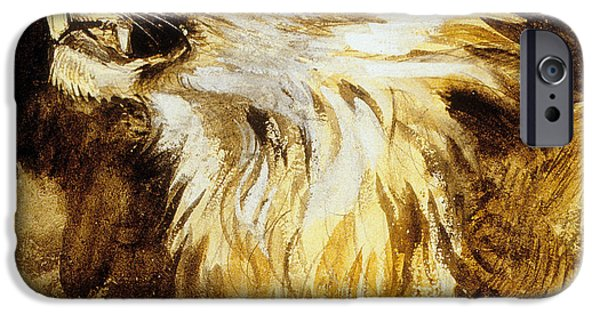 Beautiful Cat Drawings iPhone Cases - Roaring Lion iPhone Case by Ferdinand Victor Eugene Delacroix