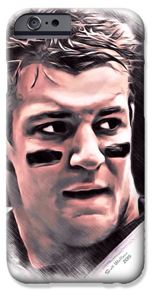 Patriots iPhone Cases - Rob Gronkowski Color Sketch iPhone Case by Scott Wallace