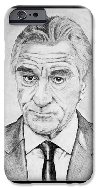 Robert De Niro Drawings iPhone Cases - Robert De Niro iPhone Case by Alexander Ivanov
