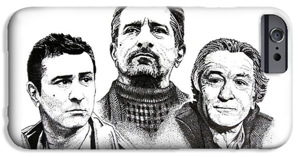 Robert De Niro Drawings iPhone Cases - Robert De Niro Pen and Ink Drawing in Black and White iPhone Case by Mario  Perez