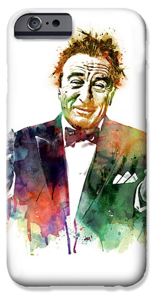 Manipulation iPhone Cases - Robert De Niro Watercolor iPhone Case by Marian Voicu