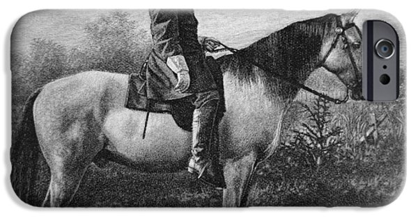 The Horse Drawings iPhone Cases - Robert E Lee on his Horse Traveler iPhone Case by American School