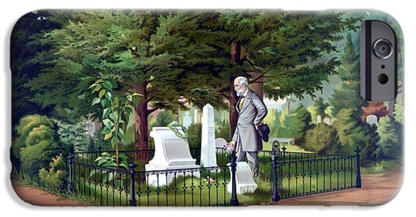 Stonewall Paintings iPhone Cases - Robert E. Lee Visits Stonewall Jacksons Grave iPhone Case by War Is Hell Store