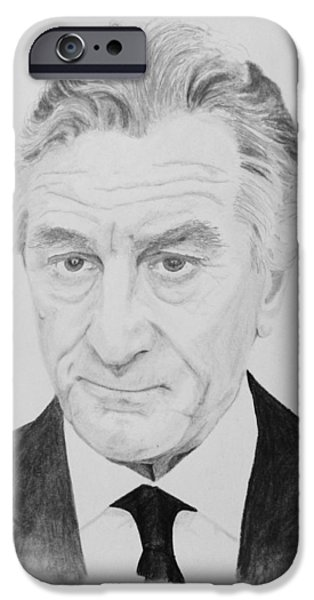 Robert De Niro Drawings iPhone Cases - Robert iPhone Case by Paul Cluskey
