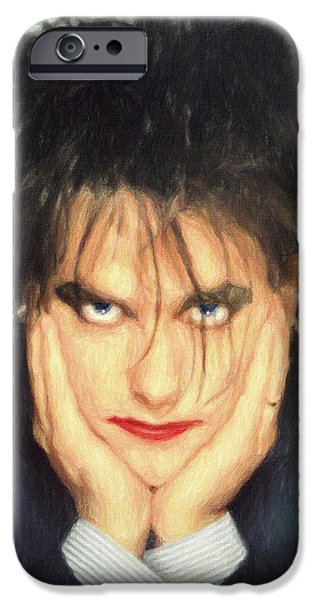 Big Hair iPhone Cases - Robert Smith iPhone Case by Taylan Soyturk