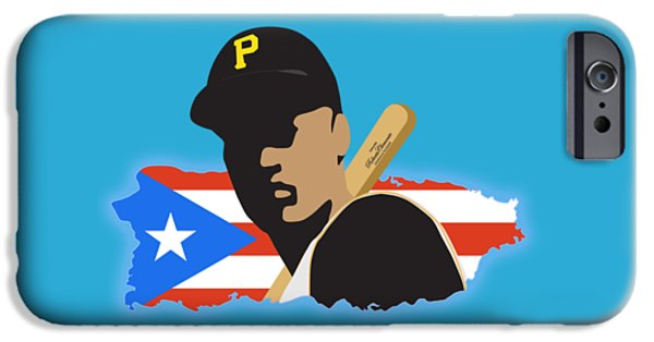 All Star Game iPhone Cases - Roberto Clemente T-Shirt Graphics iPhone Case by Ron Regalado