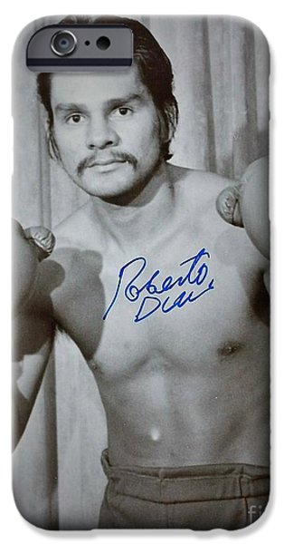 Roberto Paintings iPhone Cases - Roberto Duran iPhone Case by Dennis ONeil