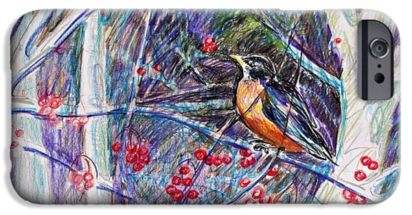 Flora Drawings iPhone Cases - Robin In The Crab Apple Trees Sketch iPhone Case by Joy Nichols