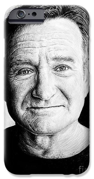 Close Drawings iPhone Cases - Robin Williams iPhone Case by Andrew Read