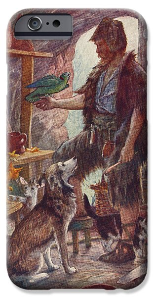 Animal Drawings iPhone Cases - Robinson Crusoe And His Pets. From iPhone Case by Vintage Design Pics