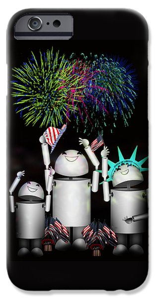 Best Sellers -  - 4th July Mixed Media iPhone Cases - Robo-x9 and Family Celebrate Freedom iPhone Case by Gravityx9  Designs