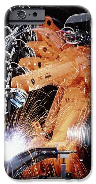 Production Line iPhone Cases - Robot Arm Spot-welding A Car Suspension Unit iPhone Case by David Parker