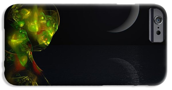Si-fi Fractal iPhone Cases - Robot Moonlight Serenade iPhone Case by David Lane