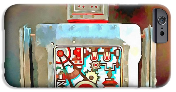 Robots iPhone Cases - Robot Pop Art R-1 iPhone Case by Edward Fielding