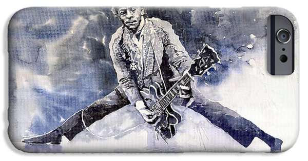 Berry Paintings iPhone Cases - Rock and Roll Music Chuk Berry iPhone Case by Yuriy  Shevchuk