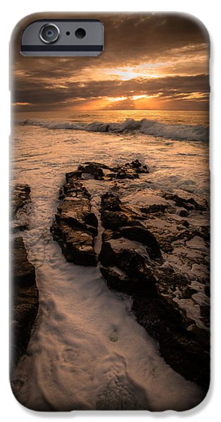 Ocean Sunset Pyrography iPhone Cases - Rock Formations on the Shore iPhone Case by Rick Strobaugh