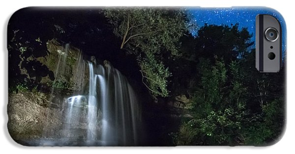 Fall iPhone Cases - Rock Glen Falls at Night iPhone Case by Cale Best