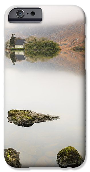 Gougane Barra Church iPhone Cases - Rock of Barra iPhone Case by Graham Daly