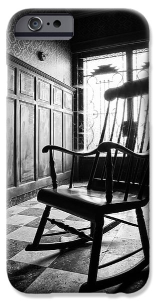 Ruin iPhone Cases - Rocking Chair - Abandoned Building iPhone Case by Dirk Ercken
