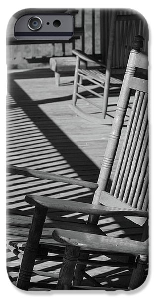 Rocking Chairs Photographs iPhone Cases - Rocking Chair Porch in black and white iPhone Case by Suzanne Gaff