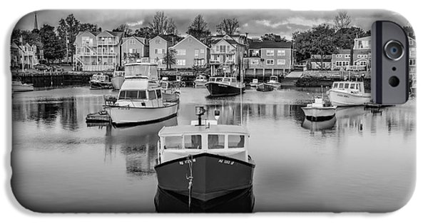 Pleasure iPhone Cases - Rockport Harbor BW iPhone Case by Susan Candelario