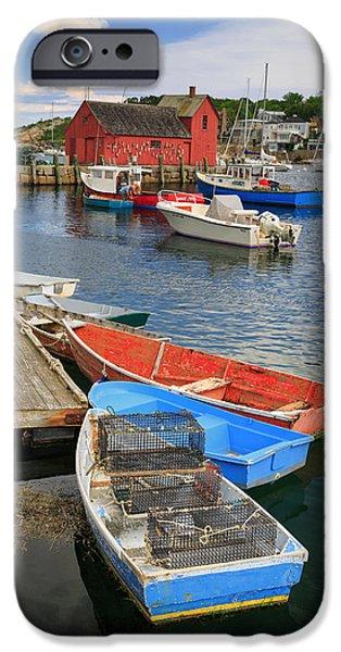 Cape Neddick Lighthouse iPhone Cases - Rockport Harbor  iPhone Case by Emmanuel Panagiotakis