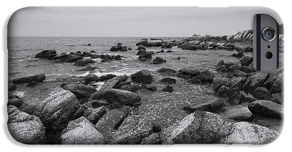 Beach Landscape iPhone Cases - Rocks and Clouds iPhone Case by Nam Tran