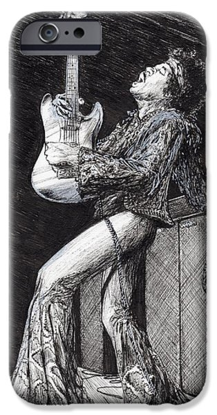 Music Drawings iPhone Cases - Rockstar iPhone Case by Vincent Alexander Booth