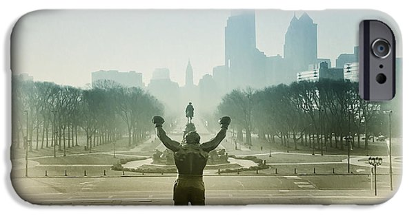 Stallone Digital iPhone Cases - Rocky at the Top of the Steps iPhone Case by Bill Cannon