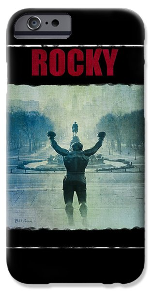 Champ Boxer iPhone Cases - Rocky Balboa on top of The Art Museum Steps iPhone Case by Bill Cannon