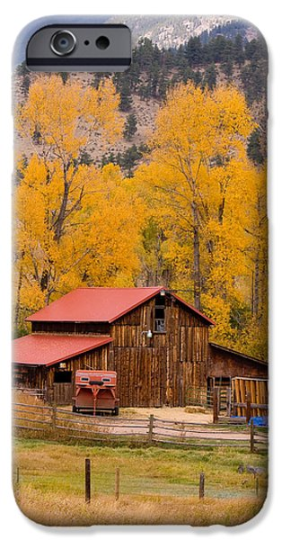 Barn Print Photographs iPhone Cases - Rocky Mountain Barn Autumn View iPhone Case by James BO  Insogna