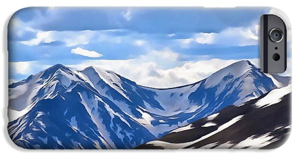 Snowy Mixed Media iPhone Cases - Rocky Mountain High Trail Ridge Road iPhone Case by Dan Sproul