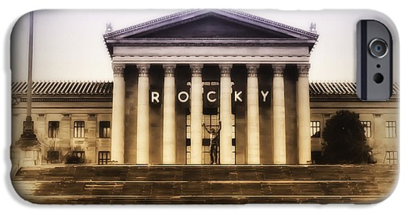 Boxer iPhone Cases - Rocky on the Art Museum Steps iPhone Case by Bill Cannon