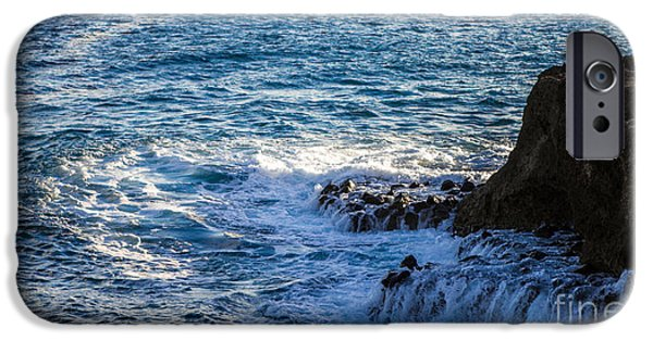 Ocean Sunset iPhone Cases - Rocky Shore iPhone Case by Digital Kulprits