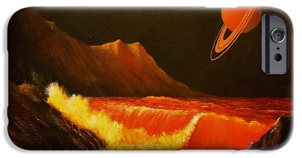 Exoplanet Paintings iPhone Cases - Rocky Shores on a Planetary Moon iPhone Case by Suresh Chakravarthy