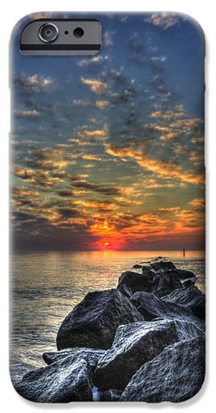 Tybee Island Pier iPhone Cases - Rocky Sunrise Tybee Island 2 iPhone Case by Reid Callaway