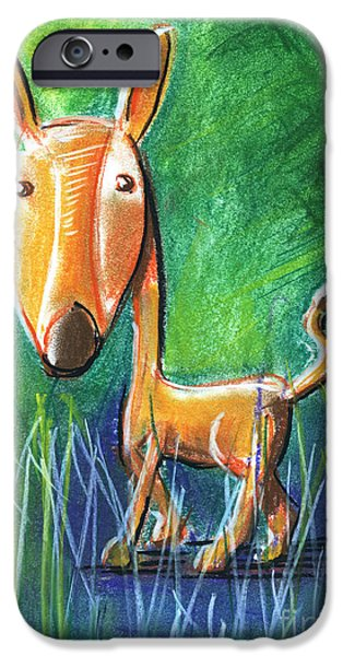 For Children Pastels iPhone Cases - Roe Deer For Children Pastel Chalk Drawing iPhone Case by Frank Ramspott