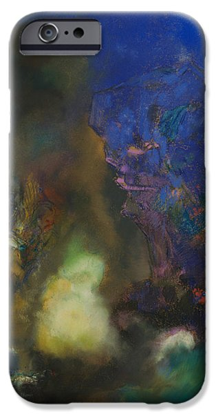 19th Century Pastels iPhone Cases - Roger and Angelica iPhone Case by Odilon Redon
