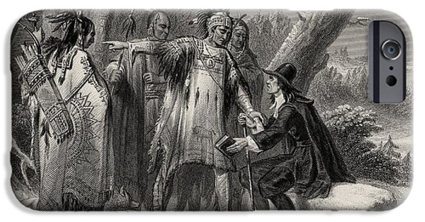 Religious Drawings iPhone Cases - Roger Williams Sheltered By The iPhone Case by Ken Welsh