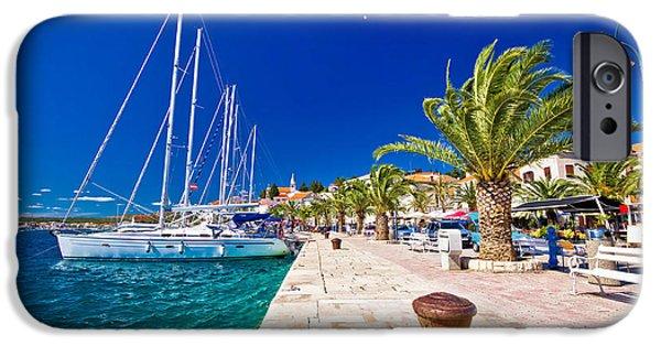 Sailboat Ocean iPhone Cases - Rogoznica sailing destination in Dalmatia waterfront view iPhone Case by Dalibor Brlek
