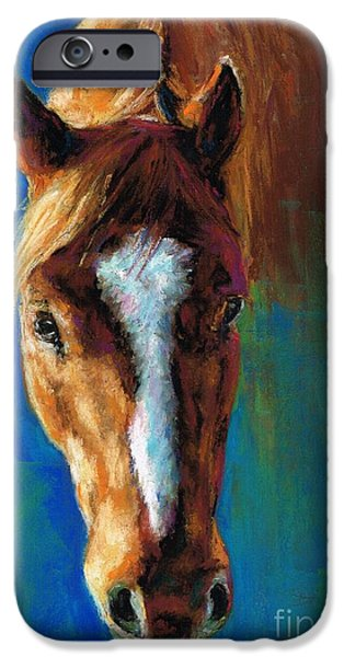 Equine Art iPhone Cases - Rojo iPhone Case by Frances Marino