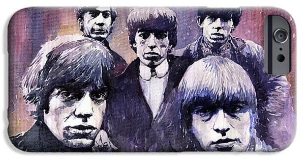 Stone Paintings iPhone Cases - Rolling Stones  iPhone Case by Yuriy  Shevchuk