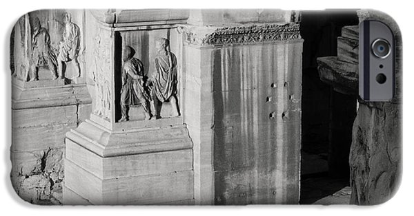 Ancient Reliefs iPhone Cases - Detail from The Arch of Septimius Severus iPhone Case by Dan Bernard