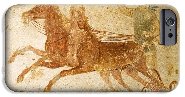 Horse Racing Photographs iPhone Cases - Roman Fresco, Ostia Antica iPhone Case by Sheila Terry
