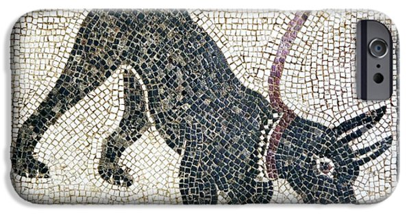 Working Dog iPhone Cases - Roman Guard Dog Mosaic iPhone Case by Sheila Terry